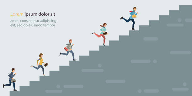 geschäftsleute klettern hohe treppenstumonte. - treppe stock-grafiken, -clipart, -cartoons und -symbole
