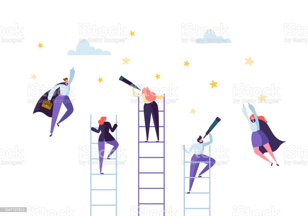 business people climbing on ladder to success competition career achieving the goal concept businessman and businesswoman flying to stars vector illustration stock illustration download image now istock business people climbing on ladder to success competition career achieving the goal concept businessman and businesswoman flying to stars vector illustration stock illustration download image now istock