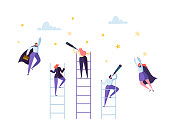 Business People Climbing on Ladder to Success. Competition Career Achieving the Goal Concept. Businessman and Businesswoman Flying to Stars. Vector illustration