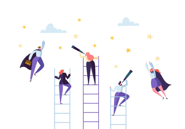 Business People Climbing on Ladder to Success. Competition Career Achieving the Goal Concept. Businessman and Businesswoman Flying to Stars. Vector illustration Business People Climbing on Ladder to Success. Competition Career Achieving the Goal Concept. Businessman and Businesswoman Flying to Stars. Vector illustration confidence stock illustrations
