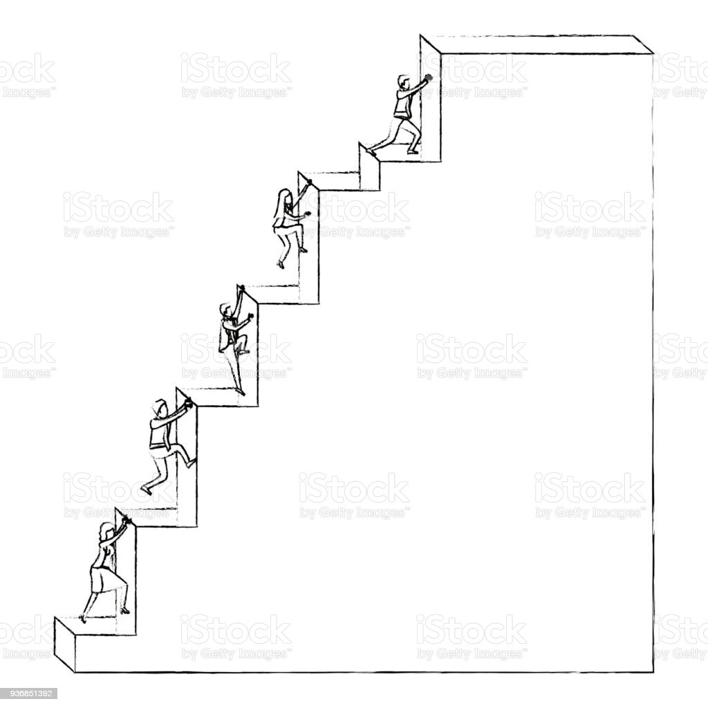 Business People Climbing Stair Block Structure With Light Bulb In The Top  Silhouette Blurred Monochrome Royalty