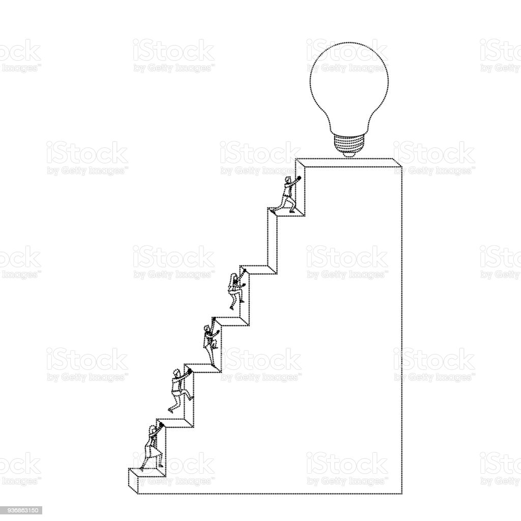 Business People Climbing Stair Block Structure With Light Bulb In The Top  Monochrome Silhouette Dotted Royalty