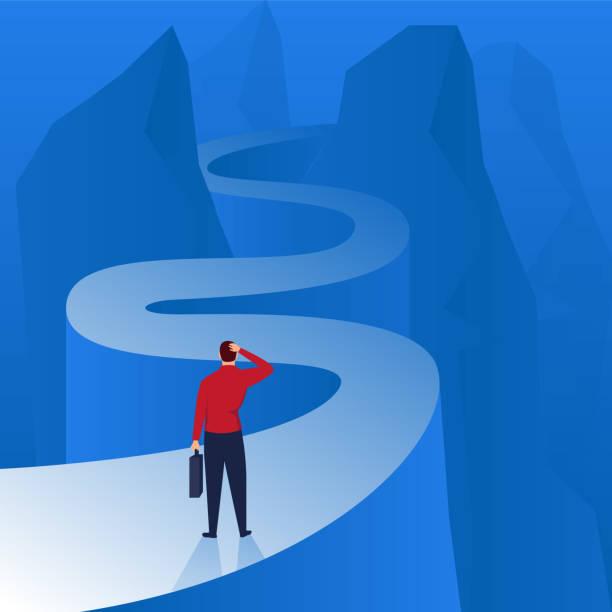 business people climbing the mountain road - stopnie do sukcesu stock illustrations