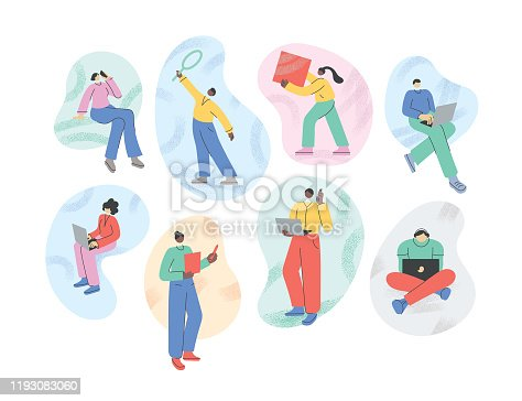 Set of various business people working, using laptops and phones. Fully editable vectors.