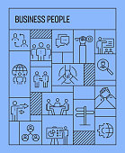 Business People Concept. Geometric Retro Style Banner and Poster Concept with Business People Line Icons
