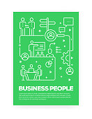 Business People Concept Line Style Cover Design for Annual Report, Flyer, Brochure.