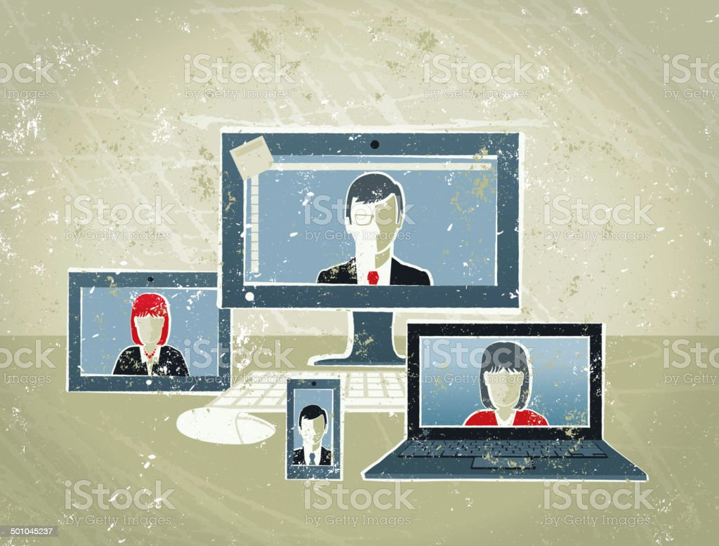Business People Conference Call on Computer, Tablet and Phone royalty-free business people conference call on computer tablet and phone stock vector art & more images of adult
