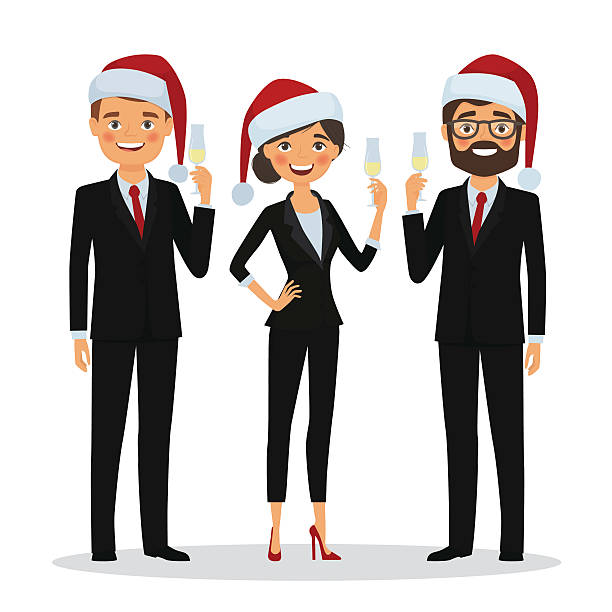 business people congratulate on christmas holidays - 社内パーティ点のイラスト素材/クリップアート素材/マンガ素材/アイコン素材