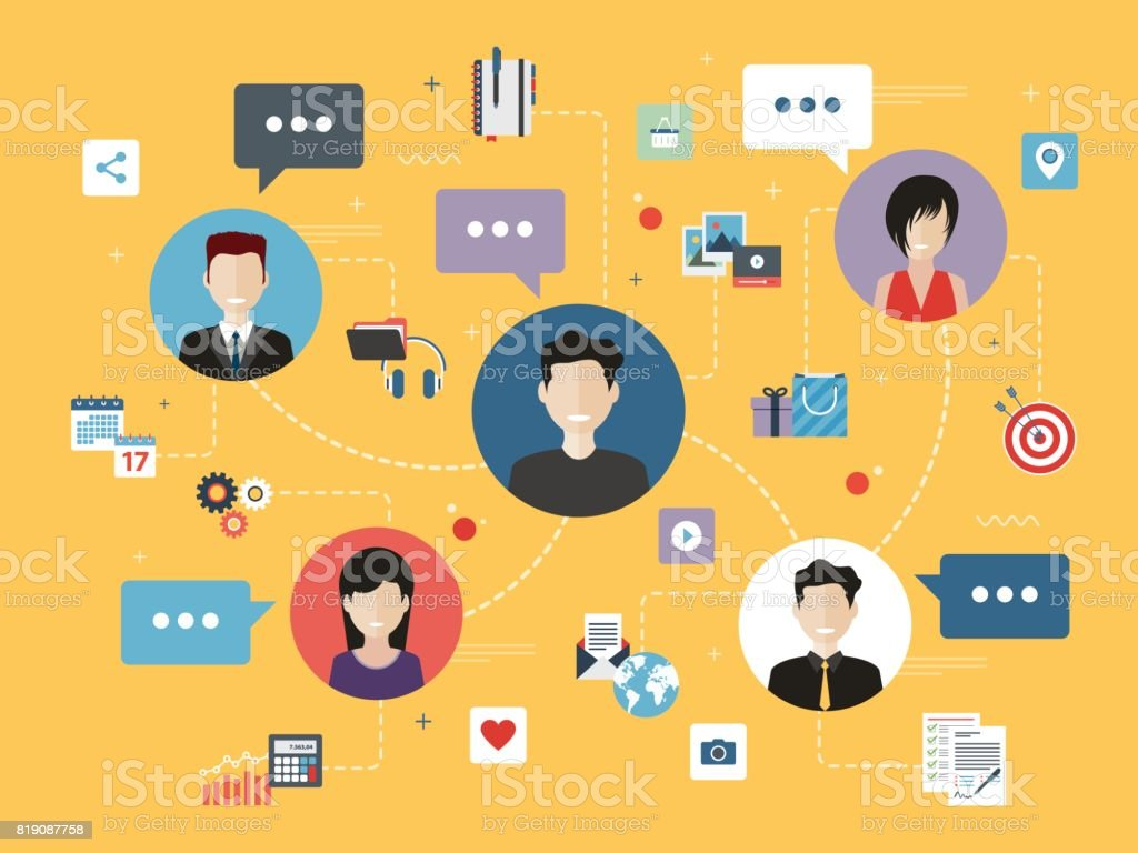 Business people connected by work