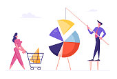 Business People Connecting Huge Pie Chart Elements. Team Partnership, Teamwork Cooperation Concept. Businesspeople Characters Set Up Separated Graph Construction. Cartoon Flat Vector Illustration