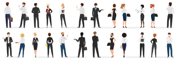 Business people conversation at pandemic cartoon vector illustration set. White and black men and women in mask, in formal suit discuss talking at distance to protect from coronavirus infection. vector art illustration