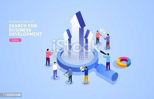 Business people discuss the business together around a magnifying glass
