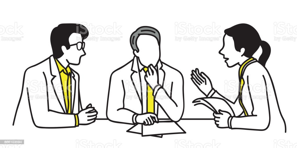 Business people discussing vector art illustration