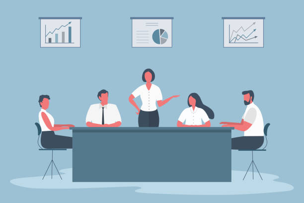 Business people during the meeting. Office workers are sitting at the table in the office vector art illustration