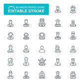 Profession and Occupation, Avatar, People Editable Stroke Icon Set