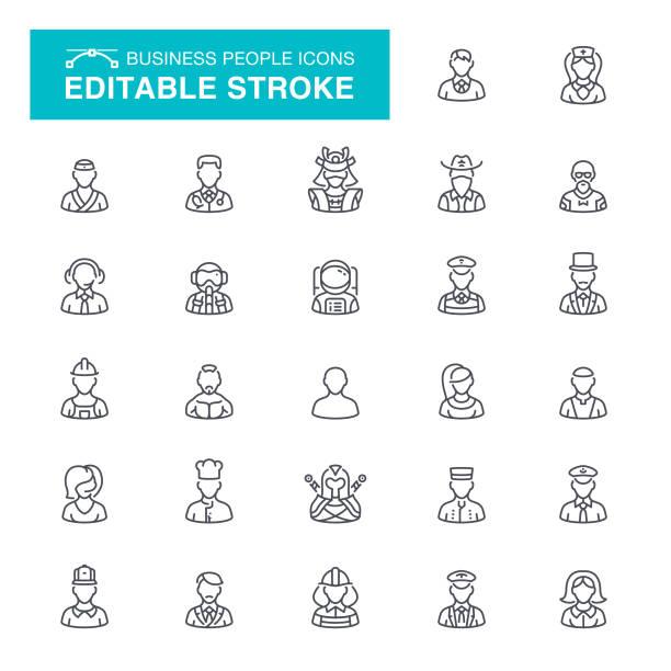 business people editable stroke icons - uderzać stock illustrations