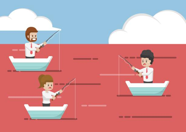 Business people fishing in red ocean. vector art illustration