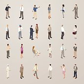 This detailed set of 24 icons is illustrated in a flat vector style. Business people stand, sit and walk while dressed in suits and office-appropriate attire. One man extends his arm as though he is presenting. A woman and man shake hands. A few others interact with their smart phones.