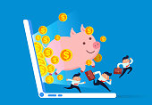 Business people follow the piggy bank and run out of the computer screen