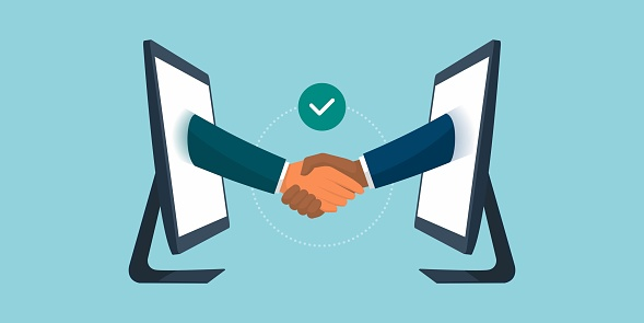 Business people giving a virtual handshake