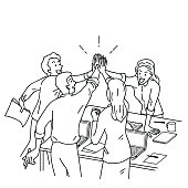 Group of businesspeople, man and woman, giving high five in business concept of corporate, success, congratulation. Outline, linear, thin line art, hand drawn sketch design.