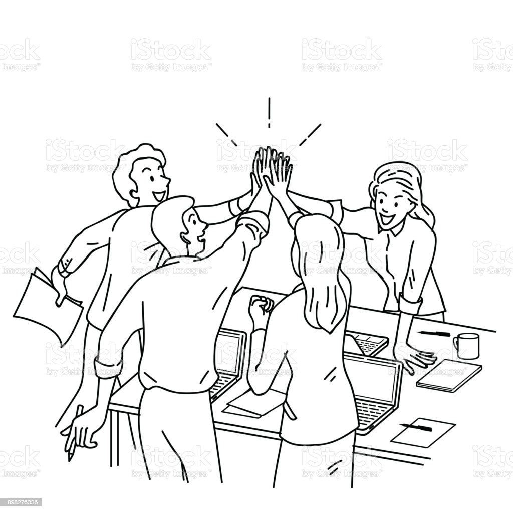 Business people giving high five vector art illustration