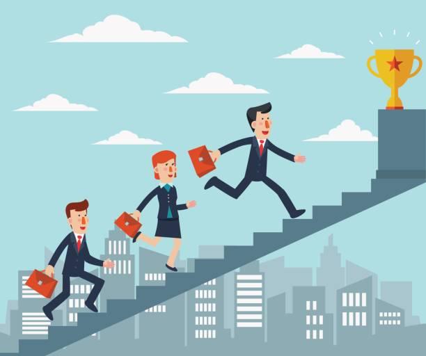 ilustrações de stock, clip art, desenhos animados e ícones de business people going up the stairs over the city, towards a trophy - young woman running city