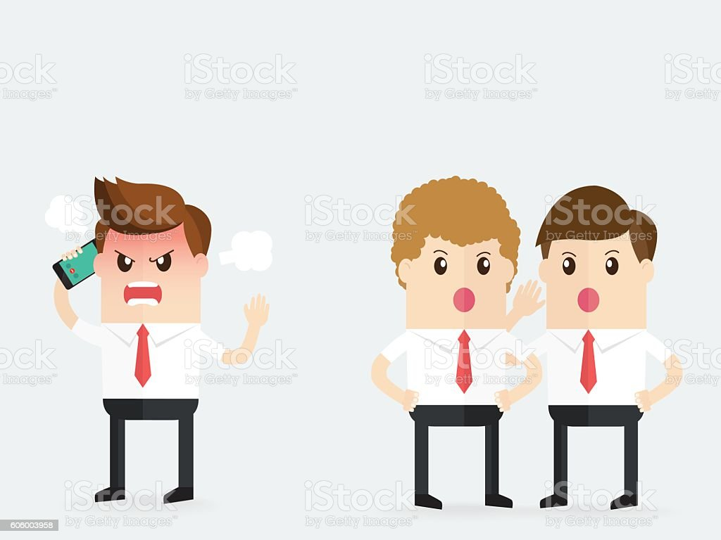 business people gossiping behind stressed businessman vector art illustration