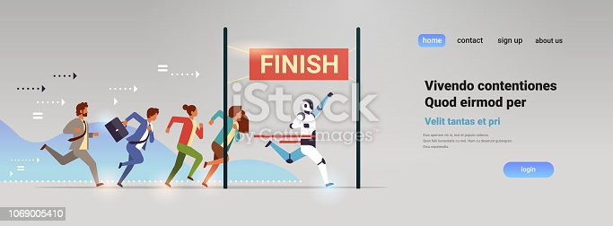 Business people group and robot competing run to finish line artificial intelligence technology win concept flat horizontal vector illustration
