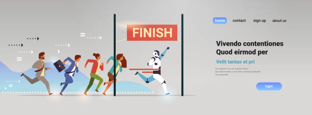 business people group and robot competing run to finish line artificial intelligence technology win concept flat horizontal - finish line stock illustrations, clip art, cartoons, & icons