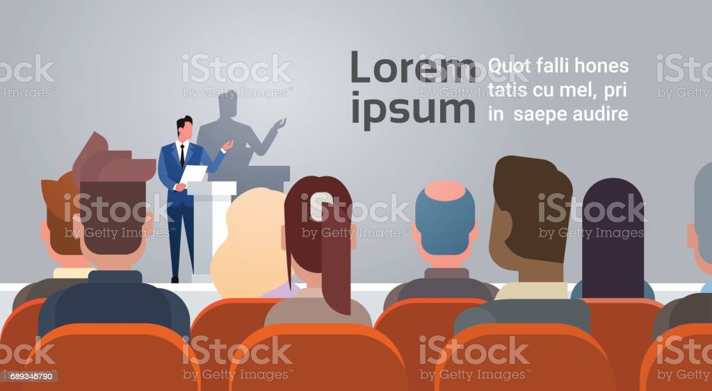 Business People Group at Conference Meeting Training Courses Speaker Standing At Tribune vector art illustration