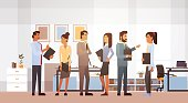 Business People Group Meeting Discussing Office Businesspeople Working Brainstorming Flat Vector Illustration