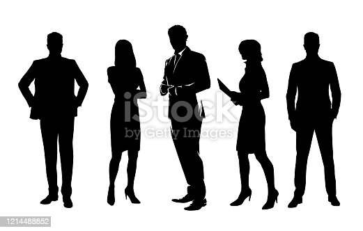 istock Business people, group of isolated vector silhouettes. Standing business men and women 1214488852