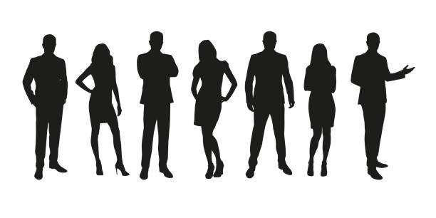 ludzie biznesu, grupa mężczyzn i kobiet odizolowane sylwetki - neutralne tło stock illustrations