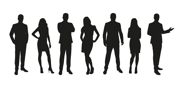 Business people, group of men and women isolated silhouettes clipart