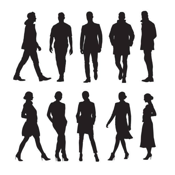 ilustrações de stock, clip art, desenhos animados e ícones de business people, group of men and women isolated vector silhouettes - portrait of confident business