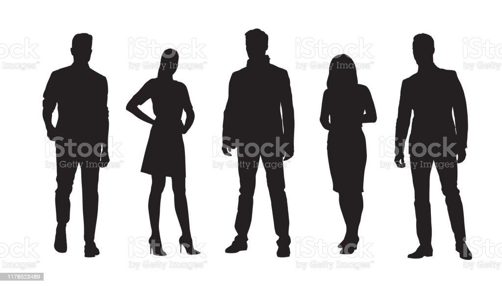 Empresarios, grupo de empresarios y mujeres de negocios. Conjunto de siluetas vectoriales aisladas - arte vectorial de Adulto libre de derechos