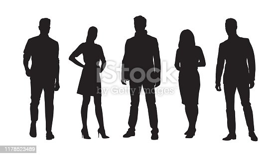 istock Business people, group of standing businessmen and businesswomen. Set of isolated vector silhouettes 1178523489