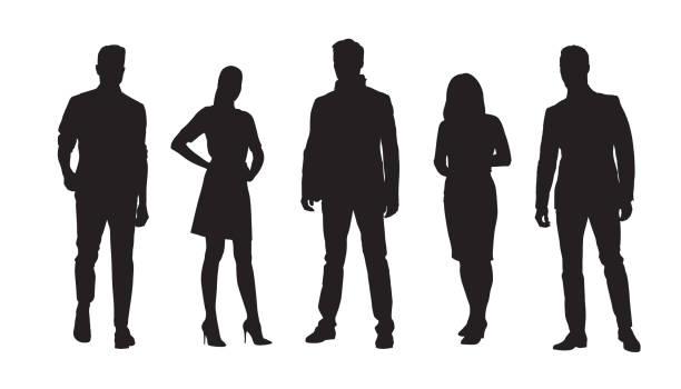 비즈니스 사람들, 서 있는 사업가 및 사업가의 그룹. 격리된 벡터 실루엣 집합 - 사람들 stock illustrations