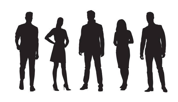 ilustrações de stock, clip art, desenhos animados e ícones de business people, group of standing businessmen and businesswomen. set of isolated vector silhouettes - só homens