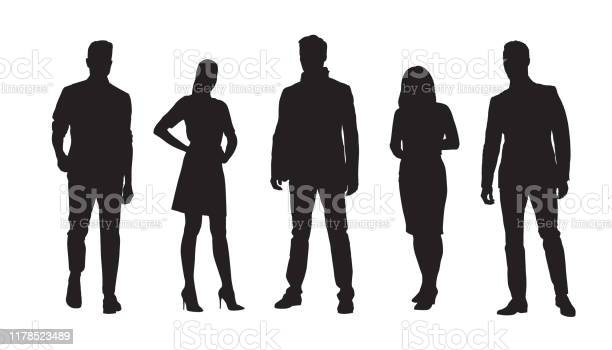 Ilustración de Empresarios Grupo De Empresarios Y Mujeres De Negocios Conjunto De Siluetas Vectoriales Aisladas y más Vectores Libres de Derechos de Adulto
