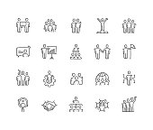 Business People Hand Draw Line Icon Set