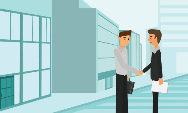 geschäft leute handshake deal teamwork partnerschaft. - laptoptaschen stock-grafiken, -clipart, -cartoons und -symbole