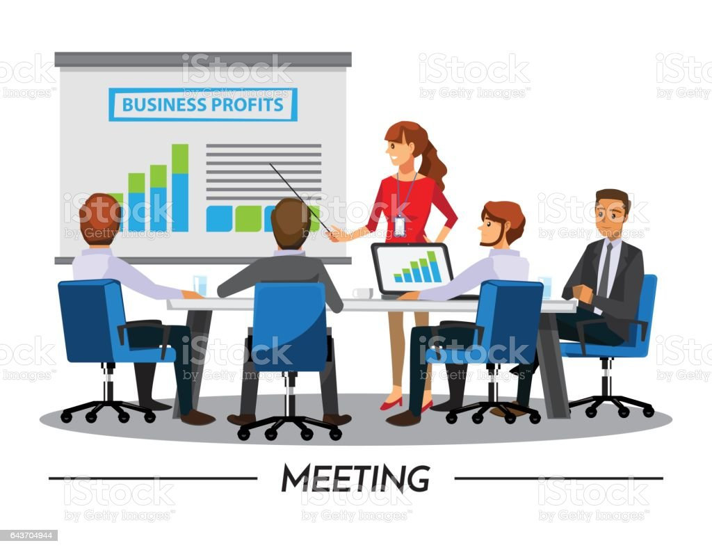 4 Ways to Excite Your Employees About BI | Business Impact |Business Meeting Cartoon Person