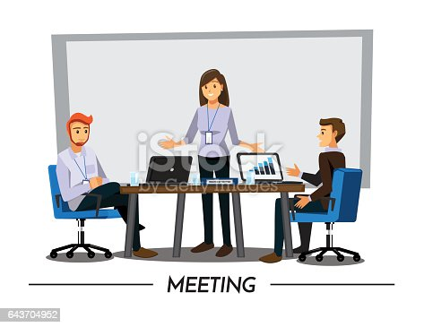 Illustrated meeting with business people - Vector download |Business Meeting Cartoon Person