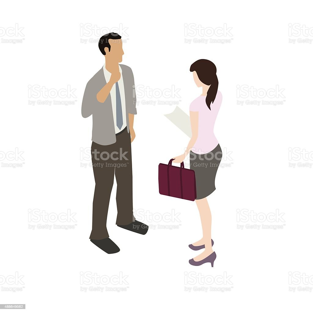 Business people having discussion vector art illustration