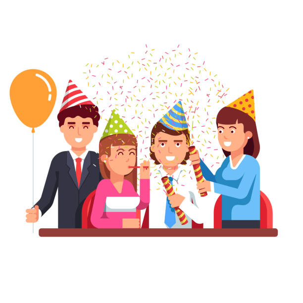 business people having fun at corporate party. flat vector clipart illustration - anniversary clipart stock illustrations