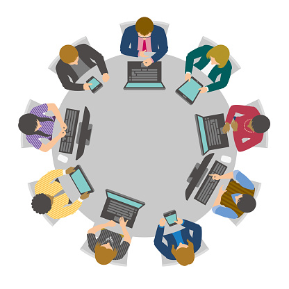 Business people having online meeting or video conference at virtual round table