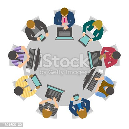 Virtual conference table with business people using digital devices.