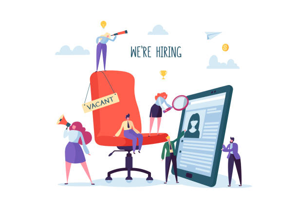 Business People Hiring New Staff. Office chair with vacancy sign. Head Hunters. Flat Characters are Examining a Resume. Recruitment Agency. Vector illustration Business People Hiring New Staff. Office chair with vacancy sign. Head Hunters. Flat Characters are Examining a Resume. Recruitment Agency. Vector illustration military recruit stock illustrations